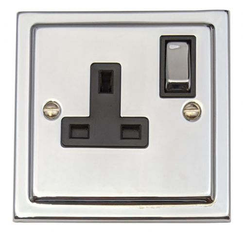 G&H TC309 Trimline Plate Polished Chrome 1 Gang Single 13A Switched Plug Socket